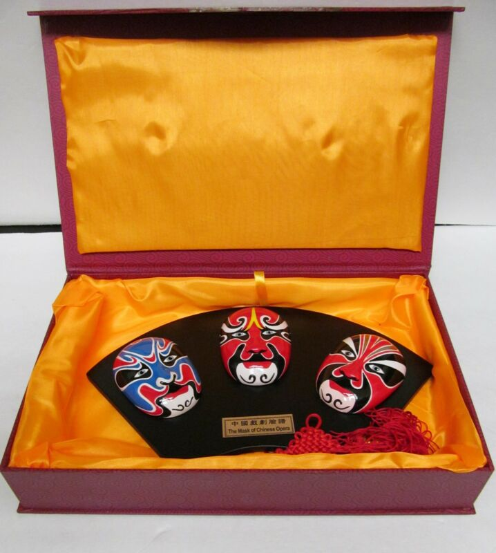 Mask of Chinese Opera Orient Crafts V3 Mounted Masks Wall Decor Orig Box 14x9