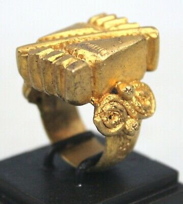 Art African - Antique Ring Bronze of Dignitary Baoulé with Base 5,8 CMS