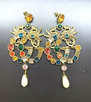 GGUCCI Antique Gold Finish Doable G Multicolored Huge Earrings with White Pearl