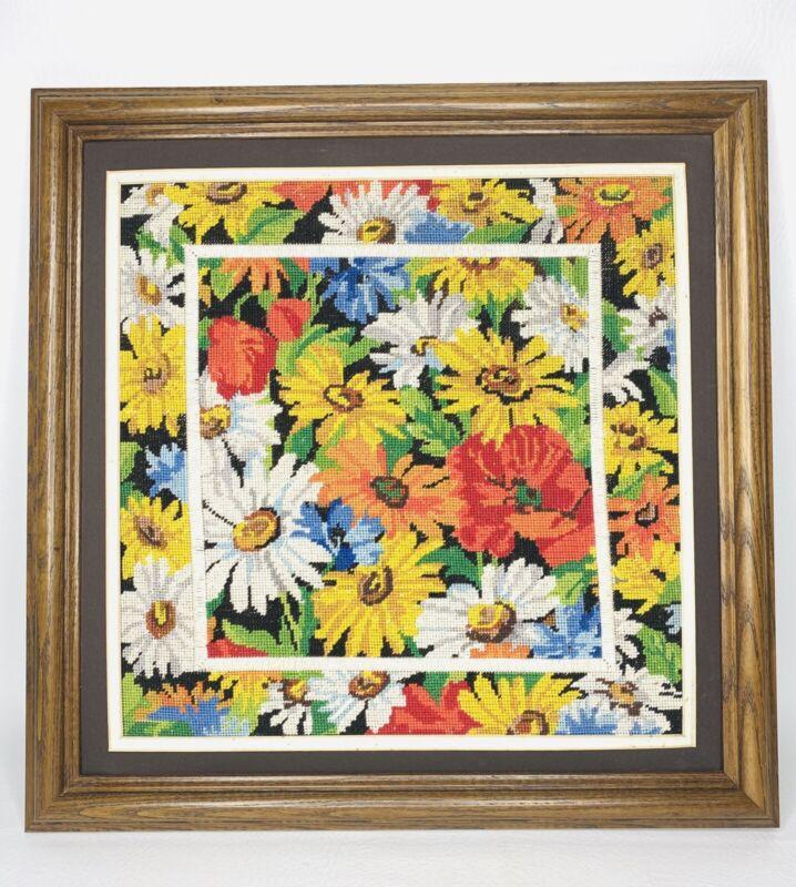 Vtg Framed Embroidered Flowers 18 x18 Mod Retro Bright Colorful Needlepoint Boho