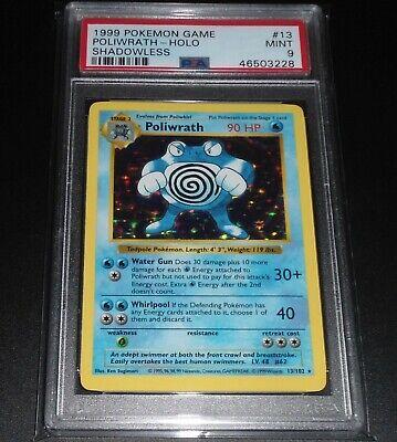 PSA 9 MINT Poliwrath 13/102 SHADOWLESS Base Set HOLO RARE Pokemon Card