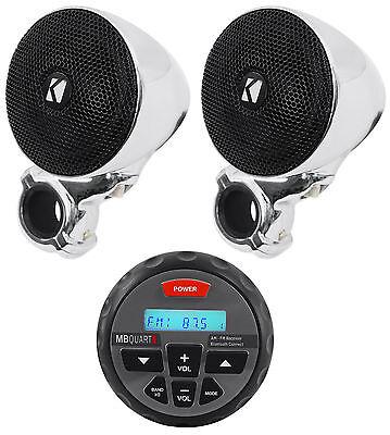 (2) Kicker 40PSM32 PSM3 Waterproof Motorcycle/ATV Handlebar Speakers + Receiver
