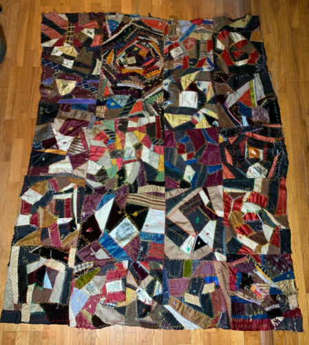 VTG ANTIQUE VICTORIAN CRAZY QUILT EMBROIDERED SILK TRADE SIGN ADVERTISING 68 X56