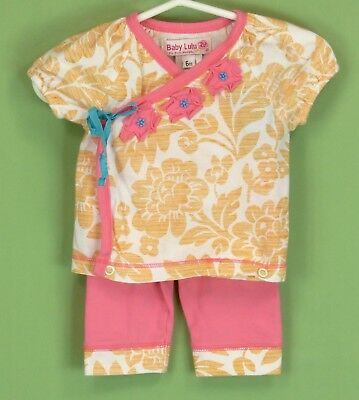 (203 Baby Lulu girl Pink & Orange 2pc SET Kimono top & pants EUC Size 6 Months)