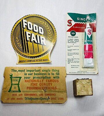 Vintage Sewing Lot Walgreens Food Fair Needle Advertising Singer Lubricant Pins