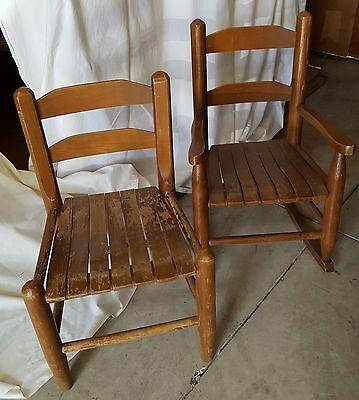 Childs oak rocker and chair set