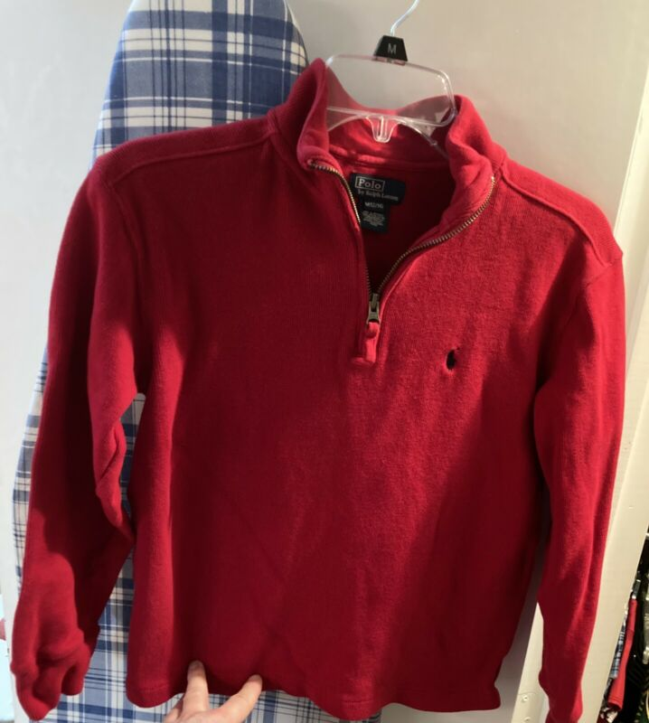 Polo Ralph Lauren Boys Medium (12-14) Red 1/4 Zip Long Sleeve Nice
