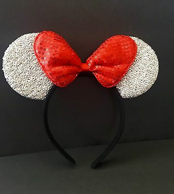 1-Minnie Mouse Red Bow Silver Ears Mickey Mouse Headband Shimmer-Disney Costume