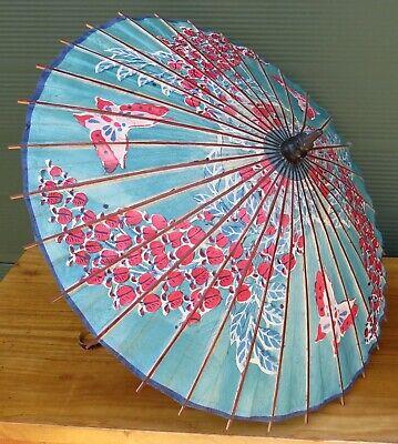 Vintage Oriental Bamboo & Paper Parasol Umbrella