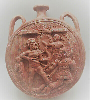 LARGE & IMPRESSIVE ANCIENT GREEK TERRACOTTA AMPHORA VESSEL DEPICTING BATTLE