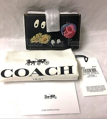 Coach x Disney 33055 Patches Accordion Card Case Wallet BLACK Spooky Eyes NWT