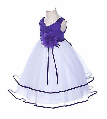 New Satin Tulle Flower Girl Dresses Wedding Pageant Bridal Easter Graduation 115](Easter Girl Dresses)