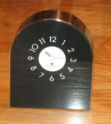 MICHAEL GRAVES CONTEMPORARY TABLE CLOCK BLACK AND STAINLESS STEEL PRE-OWNED