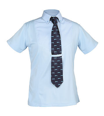Shires ladies short sleeve horse riding show showing tie shirt yellow white blue