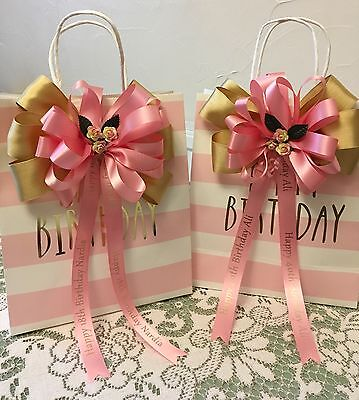 Personalised Ribbon BOW for gifts cake flowers Christmas Birthday Wedding etc - Personalized Ribbon For Wedding