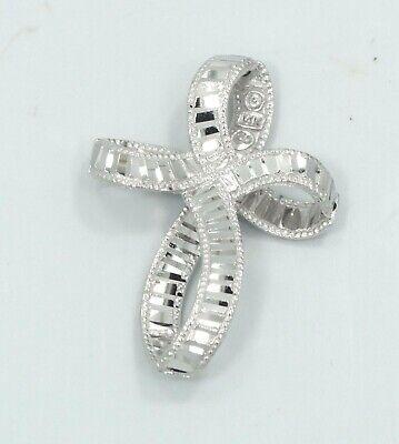 14K White Gold Diamond Cut Open Ribbon Necklace Pendant 2.0g D1514-25