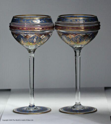 Pair of Fritz Heckert polychrome enamelled wine goblets