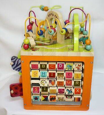 B. Zany Zoo Wooden Activity Cube Educational Center Preschool Learning Maze Toy