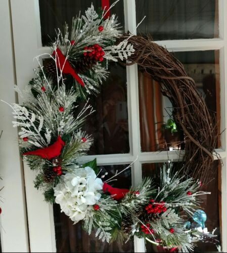 Cardinals and Hydrangea Grapevine Wreath for Winter or Christmas