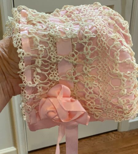 Vintage Tatted Handmade Baby Bonnet