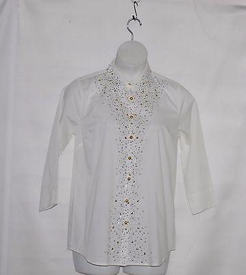 Joan Rivers Joan Knows Best Embellished Boyfriend Shirt Size S