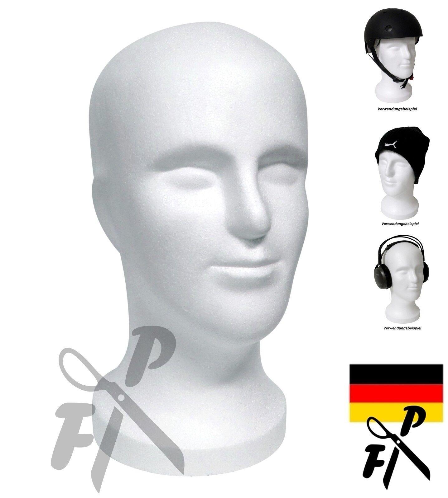 FP Herren Styroporkopf SAM  Perückenkopf Mann - Dekokopf männlich -Farbe n. Wahl
