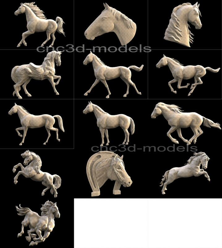 3D STL Models for CNC Router Engraver Carving Artcam Aspire Horse 253