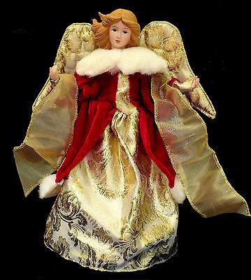 CHRISTMAS TREE TOPPER / MAJESTIC GOLDEN ANGEL with FAUX FUR TRIMMED - Majestic Christmas Tree