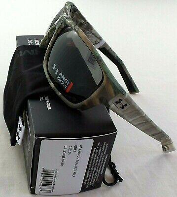 0e6343e0f256 Under Armour Launch ANSI Sunglasses Realtree Xtra Camo Grey Lens Microfiber  Pouc
