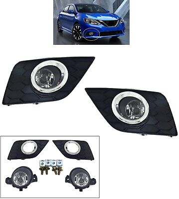 REPLACEMENT FOG LIGHT SET FOR 2016-2018 NISSAN SENTRA BEZELS CLEAR LAMPS