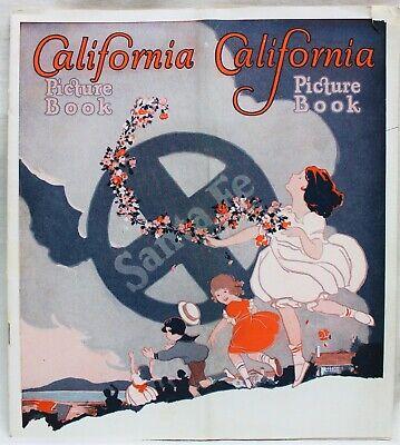 SANTA FE RAILROAD CALIFORNIA PICTURE BOOK SOUVENIR ADVERTISING BROCHURE 1925