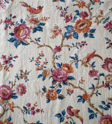 Antique French Small Scale Floral Bird Cotton Fabric ~ Burnt Orange Blue Plum