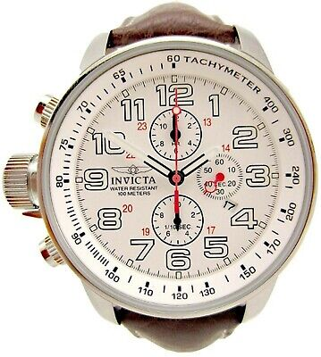 Brand New! Invicta 2771 Mens Force Lefty White Dial Quartz Chrono Leather Watch