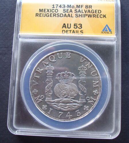 1743 Mexico 8 Reales AU 53 ANACS Pillar  Silver Coin