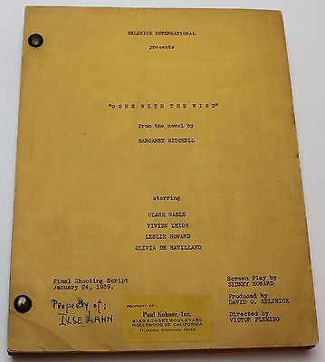 GONE WITH THE WIND * 1939 Original Movie Shooting Script * Clark Gable