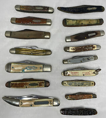 Vintage Case XX, Camillus, Schrade+, Imperial knives parts/damaged lot of 16 Old