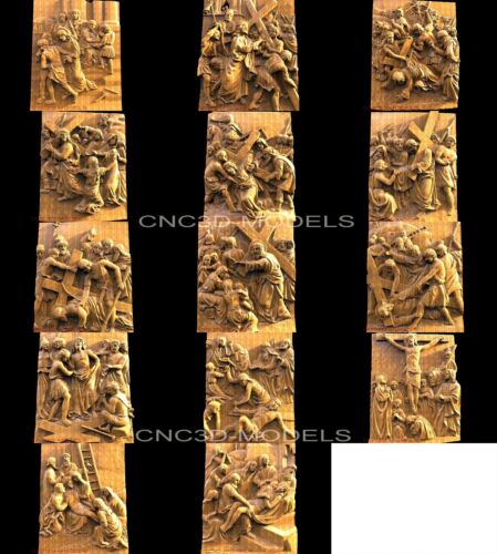 3D STL Models for CNC Artcam Aspire the way of the cross Jesus Christ 3014