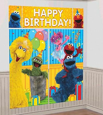 (Sesame Street Elmo Scene Wall Banner Decorating Kit Birthday Party Supply)