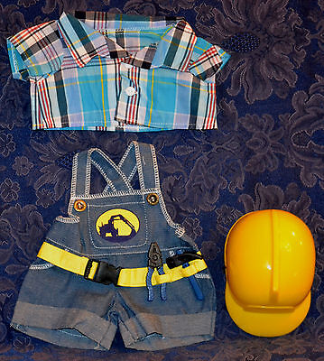 """Teddy Bear CONSTRUCTION WORKER w/HARD HAT CLOTHES Fit 14-18"""" Build-a-bear !NEW!"""