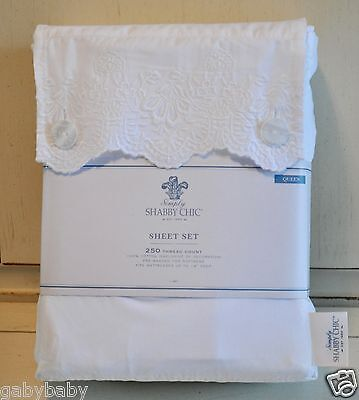 Rachel Ashwell Really Shabby Chic Embroidered Lace QUEEN Sheet Set Beach Cottage