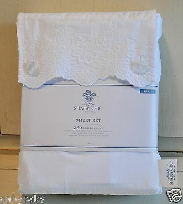 Rachel Ashwell Fully Shabby Chic Woodrose Hem Embroidered Lace QUEEN Sheet Set