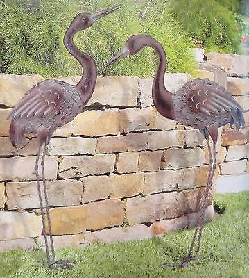 Bronze Crane Pair Yard Art 3D Metal ...