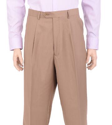 Tan Herren Kleid Hose (Herren Regular Fit Solid Tan Einzel Plissee Waschbar Kleid Hose)