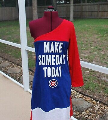 Chicago Cubs Dress Long Sleeve One Shoulder Dress Medium for sale  Shipping to India