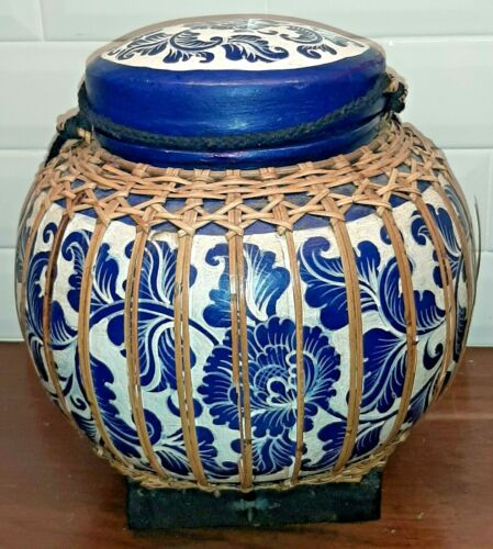 Vintage Thailand Rice Basket - Hand Made Bamboo Blue & White Floral Container