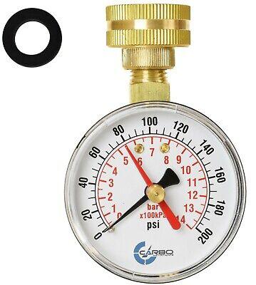 Carbo Instruments 2-12 Water Pressure Test Gauge 200 Psi 34 Female Hose