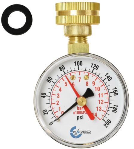 "CARBO Instruments 2-1/2"" Water Pressure Test Gauge 200 psi,  3/4"" Female Hose"