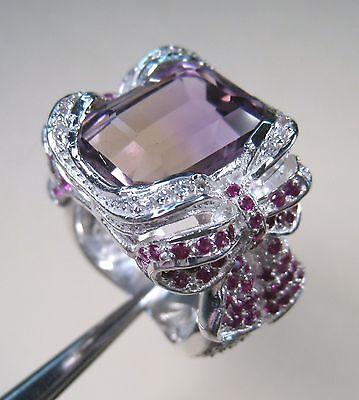 Ametrine White Gold Ring (13.32 CTW AMETRINE, RUBY & WHITE SAPPHIRE RING #7.25 WHITE GOLD over 925 SILVER )