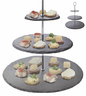 3 Layer Natural Slate Food Stand Tier Round Serving Display Platter Cakes Rack ()