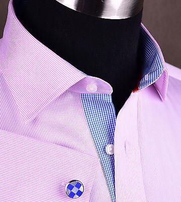 Hot Pink Mini Thin Stripe Mens Dress Shirt Luxury Formal Boss Business Fashion (Mini Stripe Dress Shirt)
